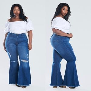 Plus size distressed frayed flare jeans XXL